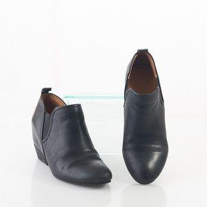 Naya Felix Black Pebble Leather Ankle Bootie Black